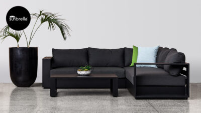 Outdoor Lounge Suites NZ - Waiheke Small Corner Sofa Set Black Front Sunbrella
