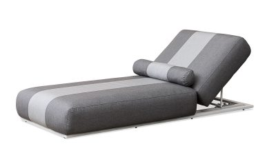 Outdoor Furniture NZ - Coromandel Lounger Cast Slate Stripe Angle