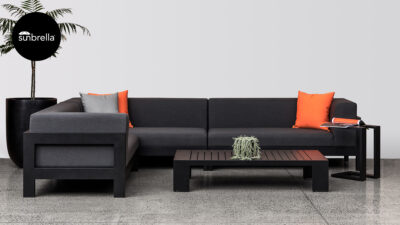 Outdoor Lounge Suites NZ - Pauanui Corner Sofa Set Black Front Sunbrella