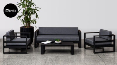 Outdoor Lounge Suites NZ - Tasman Sofa Set Black Front Sunbrella