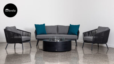 Outdoor Lounge Suites NZ - Omaha Sofa Set Grey Front Sunbrella